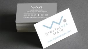 tarjetas de visita, logotipo en azul sobre fondo blanco y gris. Diseño grafico para valencia